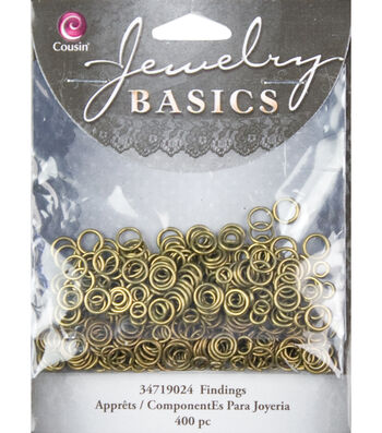 Jewelry Basics 4mm/6mm Jump Rings 400/Pk-Antique Gold