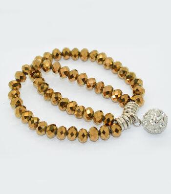 Crystal Two Line Drop Bracelet-Copper