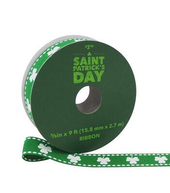 St. Patrick's Day Ribbon 5/8''x9'-White Shamrocks on Green