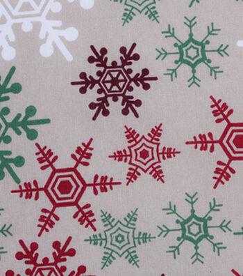 Holiday Showcase™ Christmas Cotton Fabric 43''-Snowflakes on Ivory