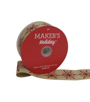 Maker's Holiday Christmas Linen Ribbon 1.5''x30'-Red Glitter Snowflake, , hi-res