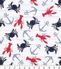 Nautical Cotton Fabric 43\u0022-Crab And Paisley Anchor
