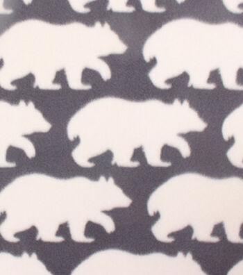 "3 Yard Pre-Cut Blizzard Fleece Fabric 59""-White Bear On Gray"