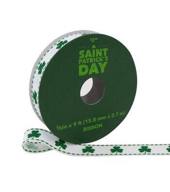 St. Patrick's Day Ribbon 5/8''x9'-Green Shamrock on White