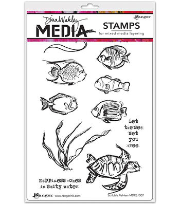 "Dina Wakley Media Cling Stamps 6""X9""-Scribbly Fishes"