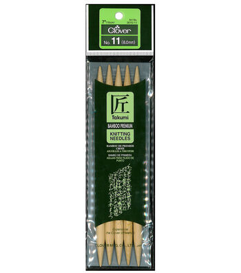 "Takumi Bamboo Double Point Knitting Needles 7"" 5/Pkg-Size 11/8mm"