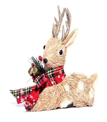Blooming Holiday Sitting Deer with Antlers & Plaid Scarf-Gold & Brown