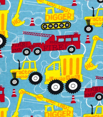Snuggle Flannel Fabric 41''-Red & Yellow Construction Trucks