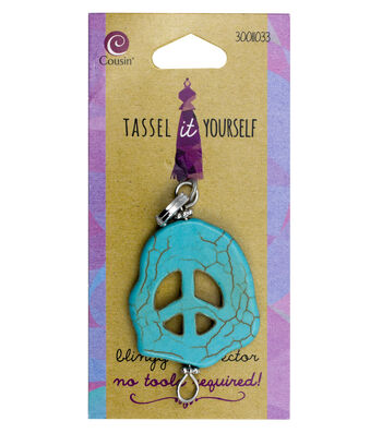 Cousin® Tassel It Yourself Oval Peace Sign Connector-Turquoise