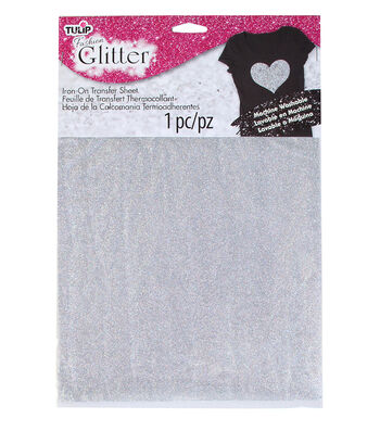 Tulip® Fashion Glitter™ Iron-On Transfer Sheet Silver Glitter