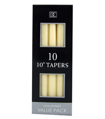 "Hudson 43™ Candle & Light Collection 10pk 10"" Unscented Taper Candles-Ivory"
