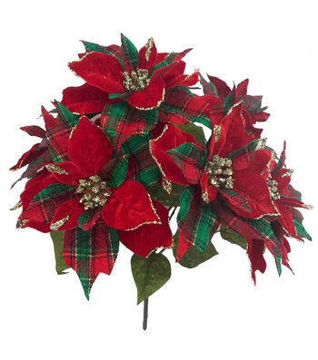 Blooming Holiday Christmas 23'' Poinsettia Spray-Green & Red Plaid