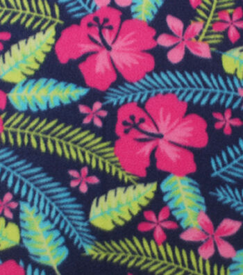"Blizzard Fleece Fabric 59""-Tropical Flowers"
