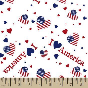 Patriotic I Love America Print Fabric