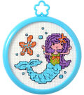 My 1st Stitch Mermaid Mini Counted Cross Stitch Kit-3\u0022 Round 14 Count