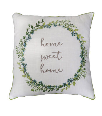 Hello Spring 18''x18'' Embroidered Pillow-Home Sweet Home