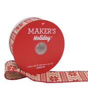 Maker's Holiday Christmas Ribbon 1.5''x30'-Red Nordic Snowflake on Beige, , hi-res