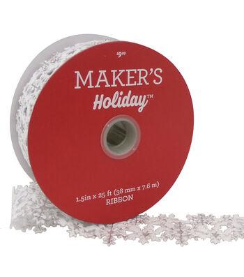 Maker's Holiday Christmas Felt Cutout Ribbon 1.5''x25'-Snowflake