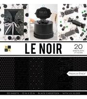 DCWV 20 Pack 12''x12''  Premium Stack Printed Cardstock-Le Noir, , hi-res