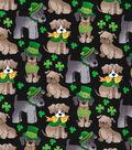 St. Patrick\u0027s Day Cotton Fabric 44\u0022-Pups & Shamrocks Black