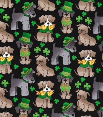 "St. Patrick's Day Cotton Fabric 44""-Pups & Shamrocks Black"