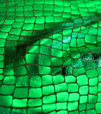 "The Witching Hour Halloween Fabric 58""-Crocodile Foil Green"