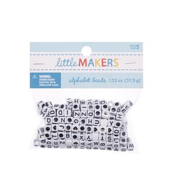 Alphabet Beads 6mm 160/Pkg-White Square W/Black Letters