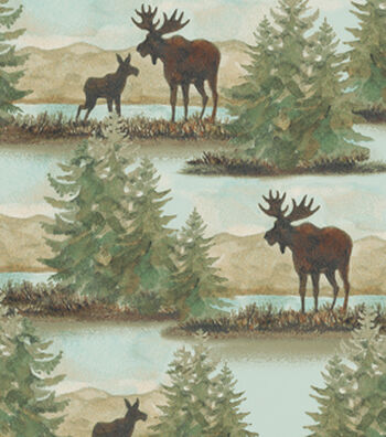 "Snuggle Flannel Fabric 42""-Watercolor Wilderness Scene"