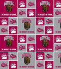 University of Montana Grizzlies Cotton Fabric 43\u0022-Red & Gray Block