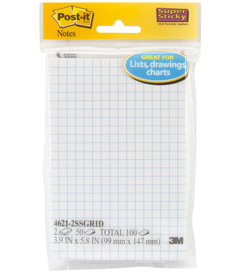"""Post-It Super Sticky Notes 3.9""""X5.8""""-Gridlines w/50 Sheets"""