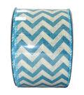 Decorative Ribbon 2.5\u0027\u0027 X 15\u0027-Blue Chevron