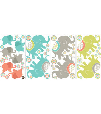 Wall Pops Tag Along Elephants Small Wall Art Decal Kit, 56 Piece Set