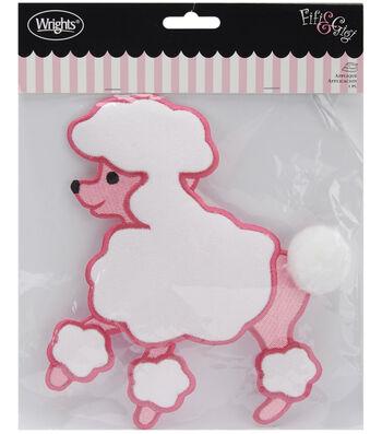 """Wrights® Fifi&Gigi Iron-On Applique-Poodle 7-1/4""""x6-1/2""""-Pink & White"""