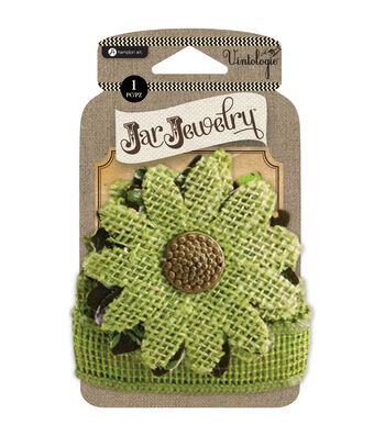 Embellished Burlap Flowers For Pint Jars W/Tie-Green