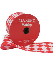 Maker's Holiday Christmas Ribbon 2.5''x25'-Red & White Diamond, , hi-res