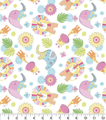 "Nursery Flannel Fabric 43""-Jungle Animals"