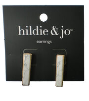 hildie & jo Gold Stud Earrings-Ivory Stone, , hi-res