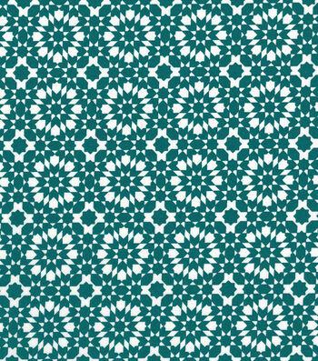 "Quilter's Showcase™ Cotton Fabric 44""-Deep Lake Kaleidescope On White"