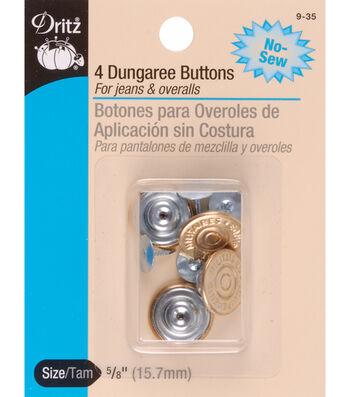 Dritz No-Sew Dungaree Buttons 4pcs