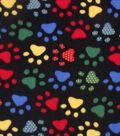 Anti-Pill Fleece Fabric 59\u0022-Bright Dotted Paw Prints On Black