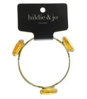hildie & jo™ 7'' Gold Bangle Bracelet-Deep Gold Textured Stones, , hi-res