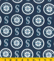 "Seattle Mariners Cotton Fabric 58""-Logo, , hi-res"