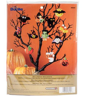 """Halloween Ornaments Set Felt Applique Kit 3""""X2"""" Set Of 12"""