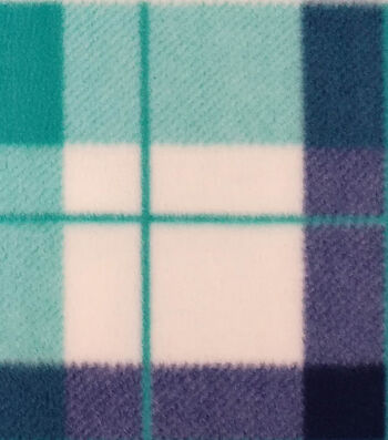 "3 Yard Pre-Cut Anti-Pill Fleece Fabric 59""-Hensley Plaid Teal White"