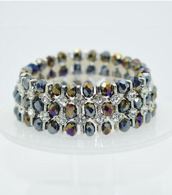 Glass Beads Spacer Bracelet-Shaded Black