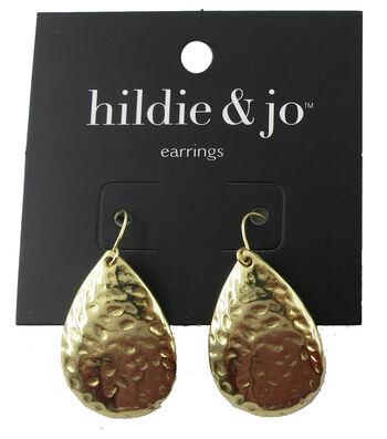 hildie & jo™ 1.25''x0.75'' Hammered Teardrop Gold Earrings
