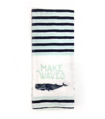 Seaport 16''x28'' Velour Terry Towel-Make Waves