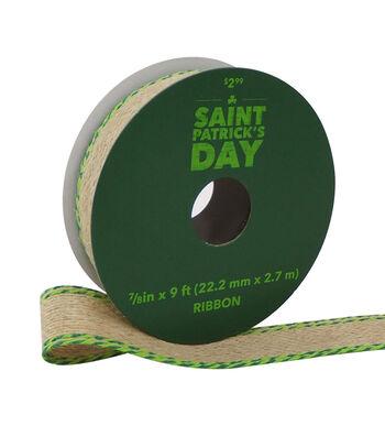 St. Patrick's Day Natural Ribbon 7/8''x9'-Twisted Green Edge