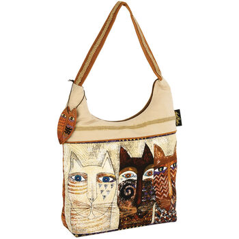 "Laurel Burch Scoop Tote Zipper Top 15""x4""x13""-Ancestral Cats"