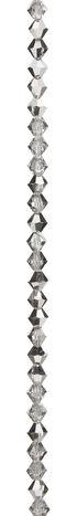 7\u0022 Bead Strands - Half Coat Silver Crystal Bicone, 6mm